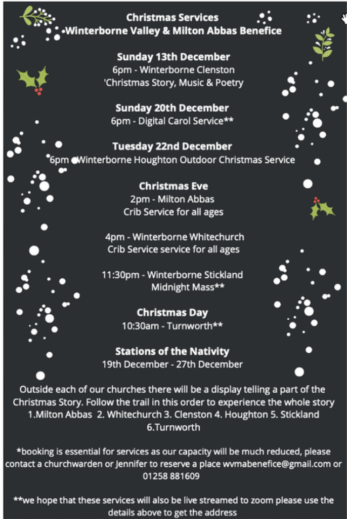 Christmas Services Winterborne Valley & Milton Abbas Benefice