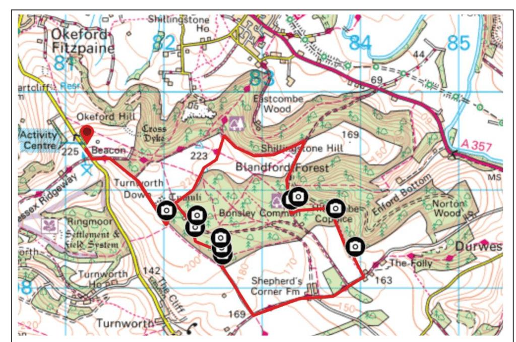 Okeford Hill Circular Walk Map