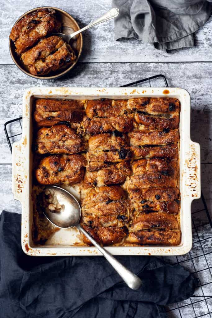 hot cross bun bread and butter pudding by Heather Brown